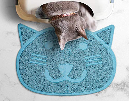 Fresh Step Cat Shaped Litter Trapper Keeper Mat | Keeps Your Cat from Tracking Litter, Large