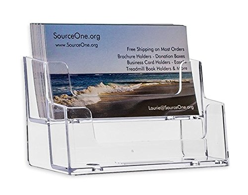 SOURCEONE.ORG 2 Tier Premium Acrylic Clear Business Card Holder, Clear