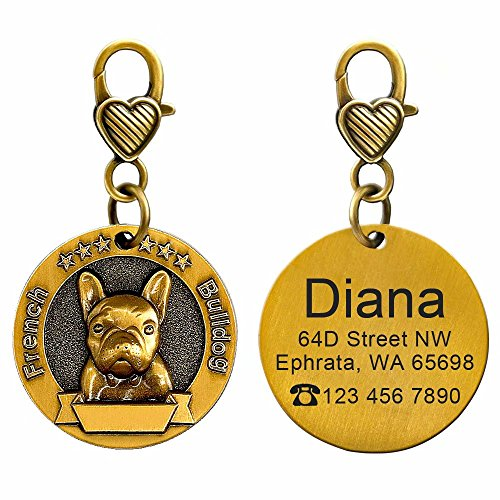 Didog Custom Engraved Dog ID Tags Matching with 18 Breeds 3D Effect,Personalized Memorial Dog Tags for French Bulldog
