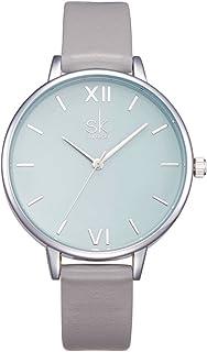 ساعة SHENGKE النسائية بسوار من الجلد الفاخر كوارتز للفتيات والسيدات ريلوجيو فيمينو (K0056-رمادي)