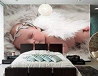 カスタム3D天使幼児睡眠子供赤ちゃん写真壁紙リビングルームテレビソファ壁保育園レストラン美しい壁紙-250x175cm