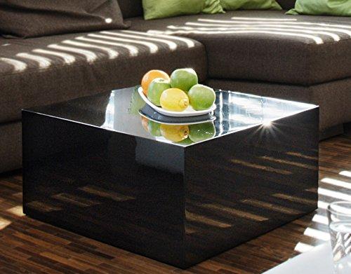 SalesFever Couch-Tisch schwarz Hochglanz quadratisch aus MDF 60x60cm quadratisch   Kuba   Moderner Wohnzimmer-Tisch in schlichtem Design 60cm x 60cm