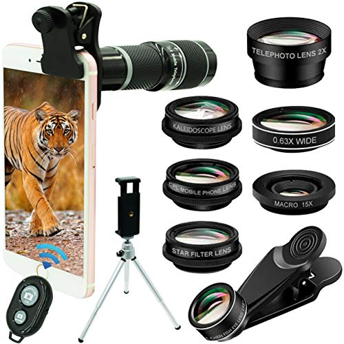 Phone Camera Lens Phone Lens Kit 10in1, 20X Telephoto Lens, 198° Fisheye Lens, 0.63X Wide Angle,15X Macro,2X Telephoto+Kaleidoscope+CPL/Starlight/Tripod/Remote,Compatible with iPhone Samsung