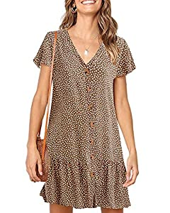 Materical-Polyester + Spandex.Soft, Light Weight, Comfortable Fabric. Feature-Womens Casual Mini Dress, Short Sleeve Tunic Dress, Polka Dots, Sexy V Neck, Ruffles Details, Loose Fit Short Mini Dress, High Princess-Waisted, Ruffle Hem, Pleater Short D...