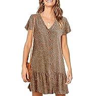 Chuanqi Womens Polka Dot V Neck Button Down Ruffles Casual Loose Swing Short Mini T-Shirt Dress
