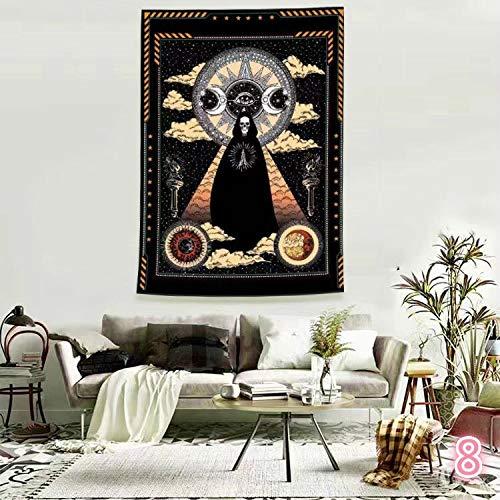 WERT Tapiz de Mandala de Luna y Sol decoración de la Pared de la cabecera, Tapiz Boho decoración del hogar Tapiz de Tela de Fondo A6 73x95cm