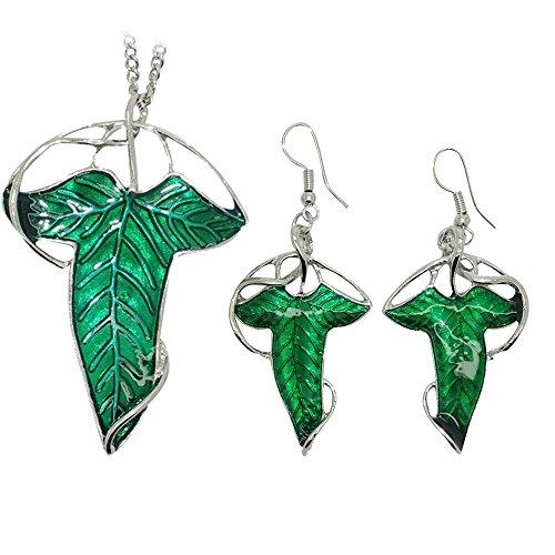 De el Señor de los anillos diseño de hoja verde broche colgante collar + pendientes de elfo, joyería Set