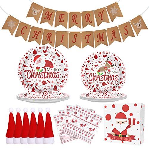 Christmas Decorations Christmas Table Decorations Christmas Paper Plates, Christmas Party Supplies Disposable Dinnerware Set Includes Paper Plates Napkin Merry Christmas Banner Mini Santa Hat