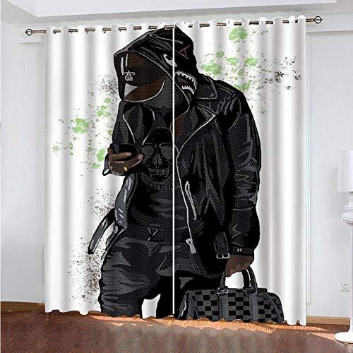 MAGICXYZ cortinas aislantes opacas Negro, figura, bolso 200x160cm 2 paneles Microfibra suave con aislamiento térmico Oscurecimiento de la habitación Cortinas de impresión 3D Dormitorio Sala de estar H