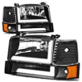 6Pcs Black Housing Amber Corner LED Tube DRL Headlight Bumper Lamps Replacement for Ford F150 F250 F350 Bronco 92-96