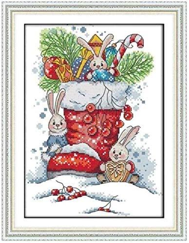 Punto de cruz Kit bordado principiantes-Conejo calcetín navideño-DIY Cross Stitch needlework Regalos-Punto de cruz Kit-Navidad decoración hogareña (11CT Lienzo preimpreso)