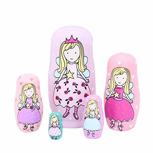 Proglam Matrjoschka-Puppe, 5 Ebenen, für Kinder, Prinzessinnen, Matroschka, Holz, handgefertigt, für Mädchen, Spielzeug für Kinder