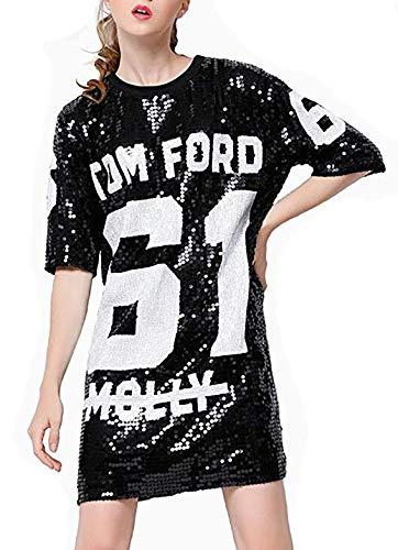 Antique Style Womens Fashion Sparkle Glitter Sequins Paillette Hip Hop Shirt Tank Top Loose Dancing Tees Black
