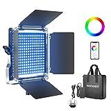 Neewer 660 RGB LEDライト APP制御付き 660 SMD LEDs CRI95/3200K-5600K/明るさ0-100%/0-360調整可能な色/9該当シーン LCDスクリーン/Uブラケット/バーンドア/金属シェル付き 撮影用