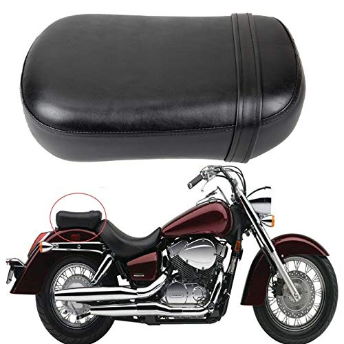 Ambienceo Black Synthetic Leather Motorcycle Pillion Passenger Rear Seat Compatible with 1998-2003 Honda Shadow ACE VT750 VT750C VT750CD