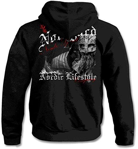 NORDGARD Kapuzenjacke/Hoody Nordic Spirit Hoody für Damen und Herren des Modelabels, Schwarz, L