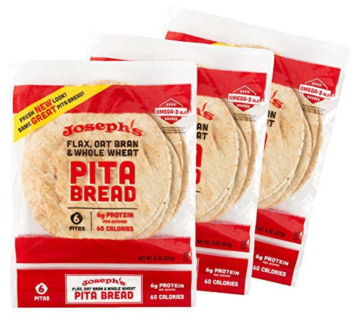 Joseph's Pita Bread Value 3-Pack, Flax Oat Bran and Whole Wheat, 7g Carbs per Serving (6 per Pack, 18 Pitas Total)