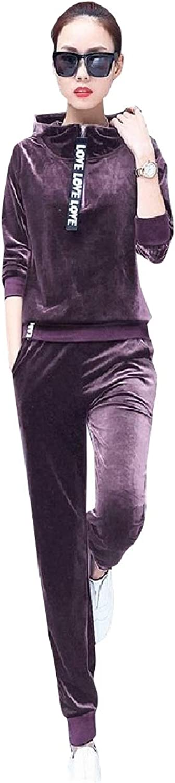 ROHEP Women Velvet Two Piece Full Zip Soft Sweatsuits Set Tracksuits