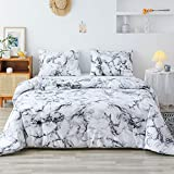 Smoofy Queen Comforter Set, White Marble Pattern Printed Bed Comforter, Soft Fabric with Brushed Microfiber Fill Bedding(1 Comforter, 2 Pillowcases)