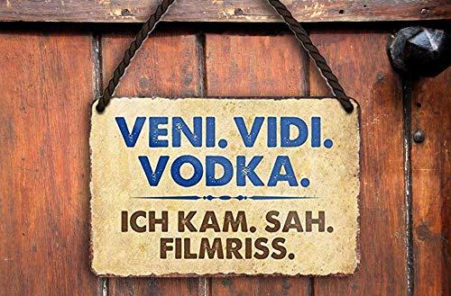 """schilderkreis24 – Blechschild Lustiger Wodka Alkohol Spruch """"Veni. VIDI. Vodka. Ich kam."""" Deko Bar Küche Kneipe Pub Theke Geschenkidee Geburtstag Weihnachten Spirituosen Trinker 18x12 cm"""