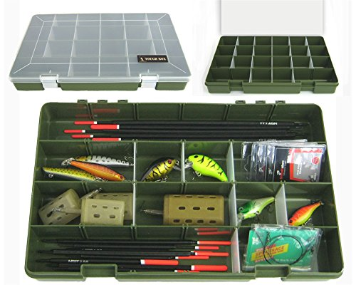 Roddarch Tough Box Adjustable 22 Compartment Tray Fishing Tackle Box for Floats Rigs Lures Other Equipment