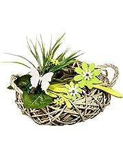 HEITMANN DECO 62899Mesa de ratán Decorativo con Madera de Flores, ratán, Gris/Verde, 38x 25x 20cm