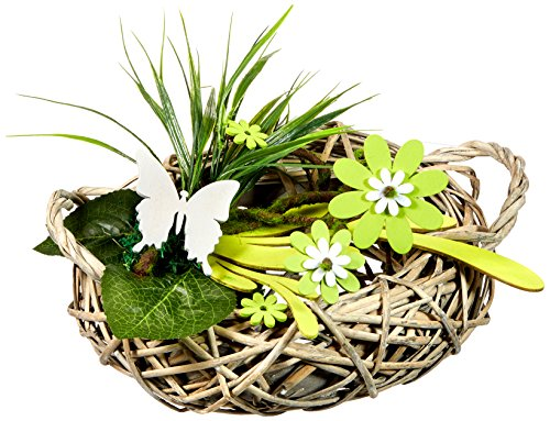 HEITMANN DECO Tischdeko aus Rattan mit Holz-Blumen, Schmetterling und Deko-Gras - Deko für Frühling und Ostern