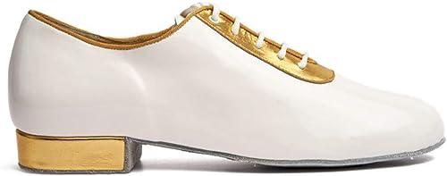 Manuel Reina - zapatos de Baile Latino Hombre LM04 blancoo oro - Bailar Bachata y Salsa - zapatos de Salsa