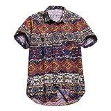 Batik Hipster Shirts for Men,Summer Casual Baggy Button Down Short-Sleeve Blouse Holiday Beach Hawaiian Aloha Top by Leegor