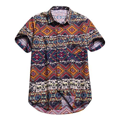 Funky Camicia Hawaiana Uomo Manica Corta Stampa Hawaiano Floreale Classica Camicie Casual da Uomo Slim Fit
