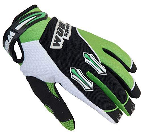 Wulf Sport Stratos Kinder MX Handschuhe Grün Motocross Quad Pit Off Road Enduro BMX ATV Junior Fahrrad Handbekleidung (XS)