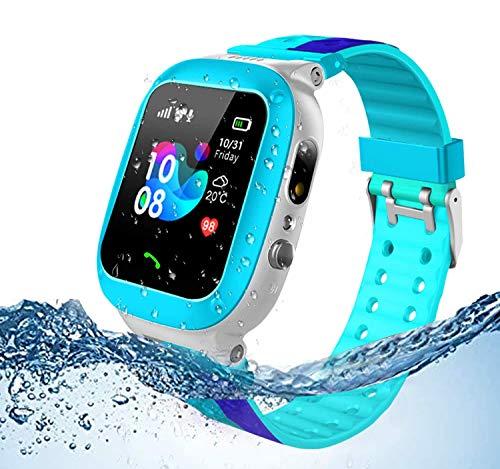 Jslai Kids SmartwatchparaNiños, LBS Tracker RelojInteligente resistente al agua para niños de 3-12 años con cámara SOS Call Juego de pantalla táctil para regalo de cumpleaños para niños Holiday