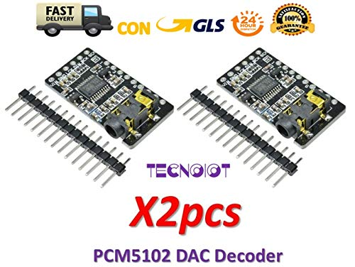 TECNOIOT 2pcs PCM5102 Decoder GY-PCM5102 I2S Interface Format Player Digital Audio PCM5102A