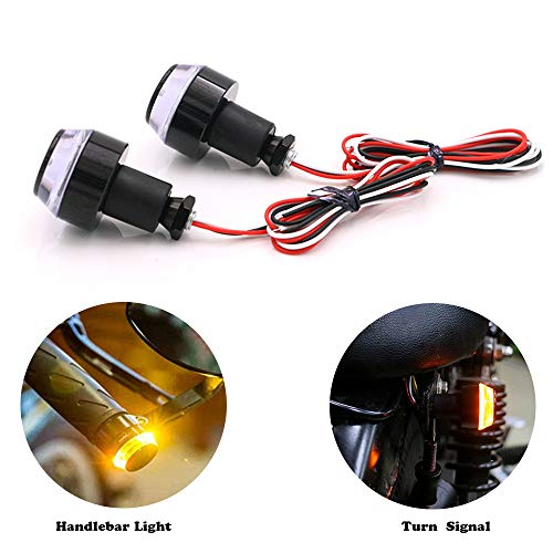 Motorcycle Handlebar End Light,12 LED Turn Signal Lamp Scooter Blinker Flasher Resistor Front Rear Light Assembly,for Chopper Cruiser Cafe Racer Classic Vintage Motorbike