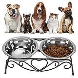 FEYV Comedero Doble para Mascotas, Cuenco para Mascotas de Doble propósito, con Marco de Hierro, Acero Inoxidable antioxidante Elevado para Perros pequeños, Gatos pequeños