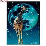 Bdhnmx Kits de pintura de diamante 5D 40x50cm Taladro completo Animales redondos envío gratis kit de punto de cruz bordado de diamantes jirafa decoración sin marco