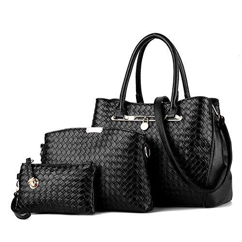 Dames tas set Dames PU Lederen Schouder Tassen Totes Handtassen met Bijpassende Portemonnee Handtas 3 Stuks Set voor Vrouwen