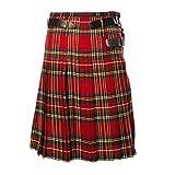 Kilt - Falda para hombre escocesa, estilo retro, tradicional vintage, falda clásica, disfraz de escocés, disfraz de tartán para cosplay o carnaval rojo XXL