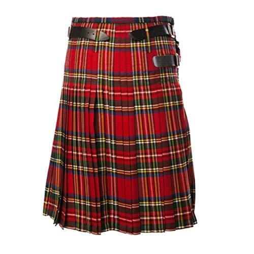 Kilt - Falda para hombre escocesa, estilo retro, tradicional vintage, falda clásica, disfraz de escocés, disfraz de tartán para cosplay o carnaval rojo 3XL