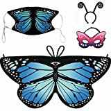 Butterfly Wings for Girl-Costume Mask for Girls Rainbow Party Fairy Genieing Costume Dress Gifts
