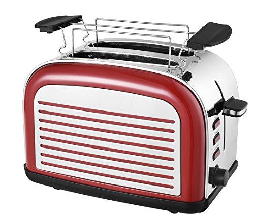 Team Kalorik 2-Scheiben-Toaster aus Edelstahl, Retro-Design, Separater Brötchenaufsatz, Integrierte Krümelschublade, 1050 W, Rot, TKG TO 2500 R