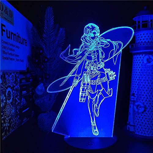 3D ilusión niños noche luz 16 color conversión lámpara Levi Ackerman 3D LED noche luz anime lámpara ataque Titan Levi noche luz LED lámpara de mesa regalo