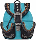 Western Style Cowgirl Country Backpack Punk Buckle School Bag Travel Biker Purse (Turquoise)