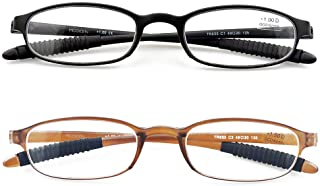 Mcoorn Lightweight Reading Glasses,Flexible(Memory Plastic) Readers for Men and Women