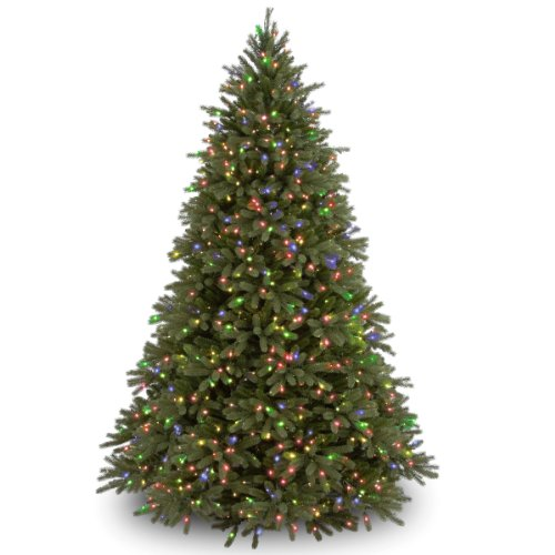 National Tree Company 'Feel Real' Pre-lit Artificial Christmas Tree | Includes Pre-strung Multi-Color Lights and Stand | Jersey Fraser Fir - 7.5 ft