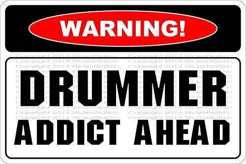 qidushop Warnschild Drummer Addict Ahead Blechschild mit Sprüchen Wandschild Plakat Gardern Schild 20 x 30 cm