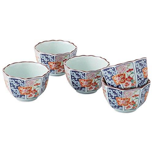Saikai Pottery Japanische arita-yaki Porzellan Tee Schalen traditionellen some-nishiki Blumen und Fans Mustern (5Tee Tassen Set) 14158aus Japan