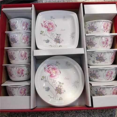 10 pcs Manglietia flower pattern bone china bowl cutlery set household rice soup salad noodle bowl plate disc square plate