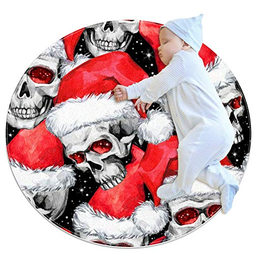 laire Daniel schedels kerstman hoed ronde baby spel mat kruipen mat slaapkussen zitkussen anti-slip mat voor kinderen kinderen peuters slaapkamer, 27.6x27.6IN