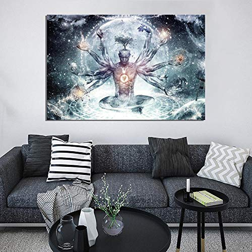 wZUN Cartel de fantasía de espíritu de meditación, Lienzo Impreso en HD, Pintura de Buda Zen, decoración artística para Pared, Pintura 60x80 Sin Marco